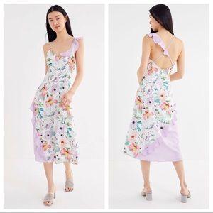🆕NWT Floral Print Ruffle Detail Flowy Midi Dress